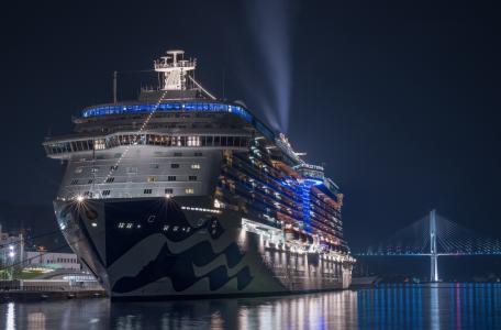 邮轮,城市,夜晚,港口