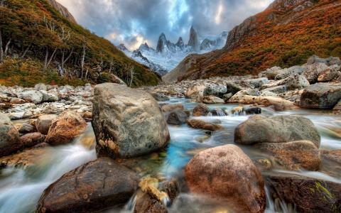 山脉,石头,河流