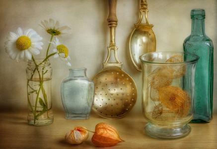 构图别致,美女,静物,雏菊,鲜花,绘画,菜肴,美女