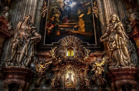 布拉格,室内装饰,教堂,圣尼古拉二世
