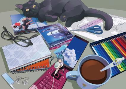 电话,眼镜,耳机,Vocaloid,表,初音未来,手机