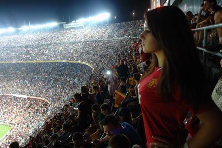 露营,体育场,西班牙,巴塞罗那,比赛,人,足球