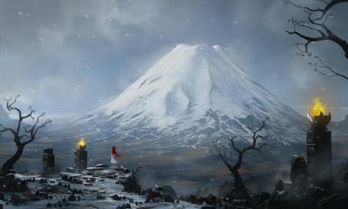 blinck,火,石头,红色,艺术,高峰,雪,女孩,山