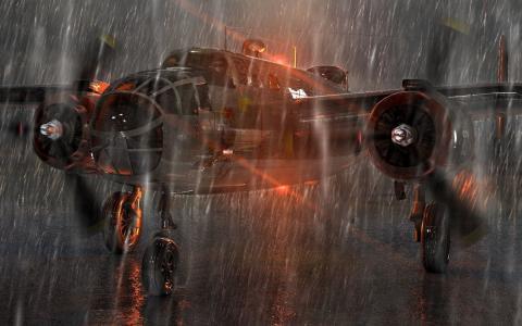 轰炸机,无天气,下雨,识别灯,起飞前