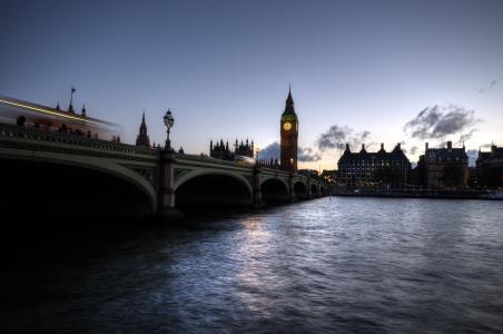 吉布本,桥,伦敦,房屋,河,时钟