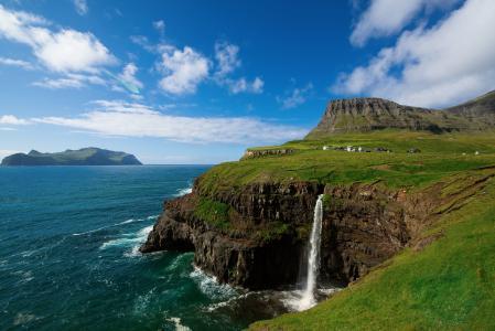 自然,山,海洋,村庄,瀑布,法罗群岛,丹麦