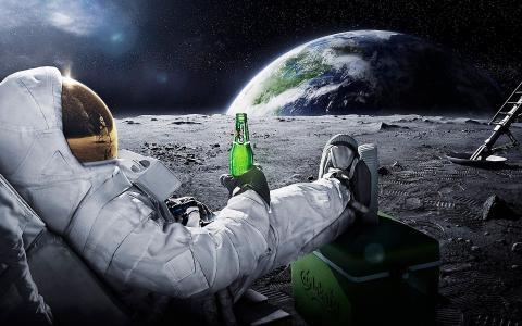地球,嘉士伯,宇航员,啤酒,空间,月亮,宇航员