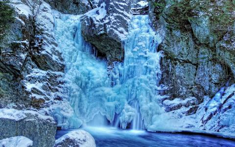 自然,冬天,雪,冰,山,瀑布,水