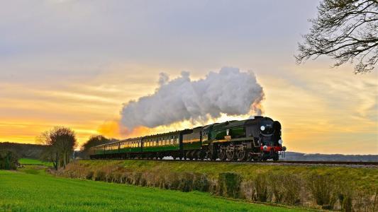 火车,铁路,田野,烟雾