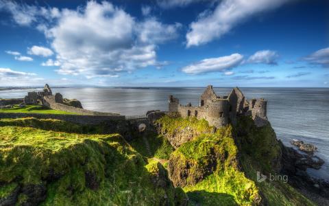 爱尔兰,城堡,古代,性质,海岸,海,照片,冰