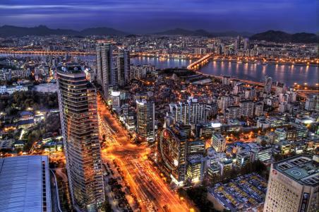 首尔,首都,摩天大楼,韩国,晚上