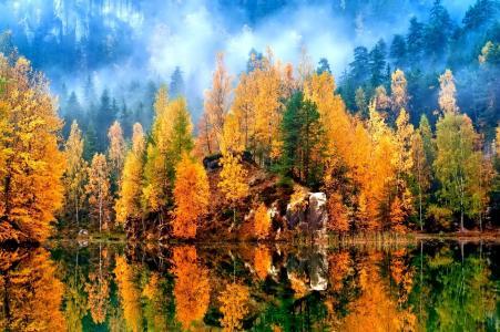 湖,钓鱼,秋天,山,超级照片,早上,水,倒影