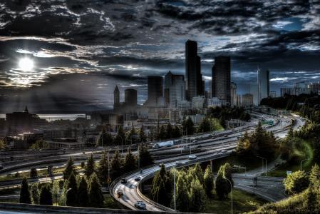 道路,房屋,美国,西雅图,人类发展报告,云,城市