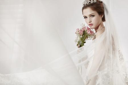 新娘,面纱,鲜花,背景