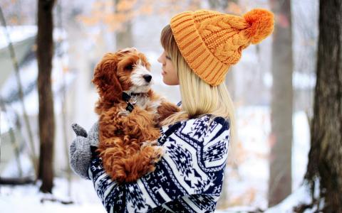 女孩,小狗,心情