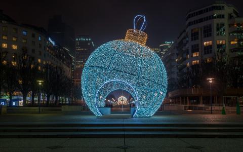法国,新年,街,巴黎,城市,圣诞节,球