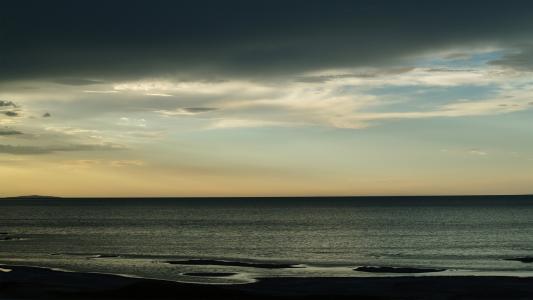 灰色,水,云