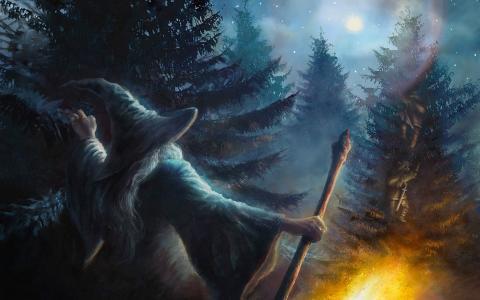 甘道夫和矮人,一个意想不到的旅程,在那里又回来了,哈比人,巫师,月光像