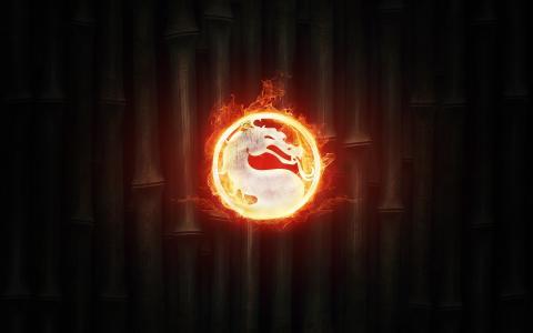 火,竹,徽标,标志,火,电池,真人快打,背景