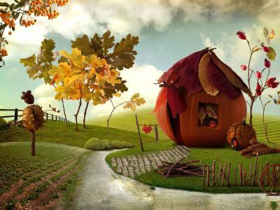 南瓜,秋季,房子,村,小屋,村,南瓜屋,艺术
