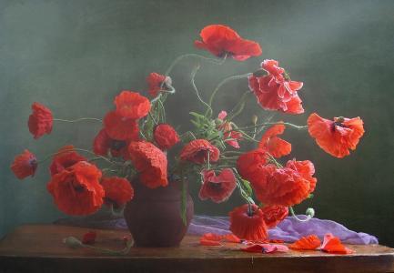 构图别致,静物,鲜花,花瓶,罂粟,美女,水罐