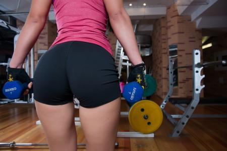 女孩,屁股,健身房,哑铃