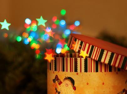 宏,新的一年,礼物,框,假期,灯