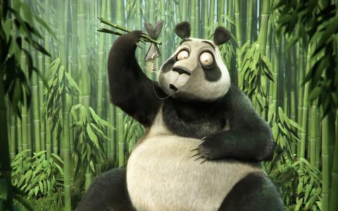 骨头,竹子,熊猫,鱼
