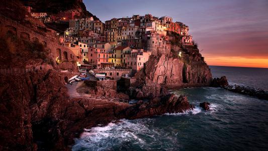 岩石,自然,城市,海洋,波浪,水,天空,日落,房子,云