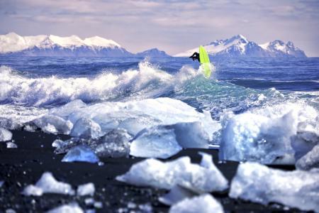 波,冰,冲浪