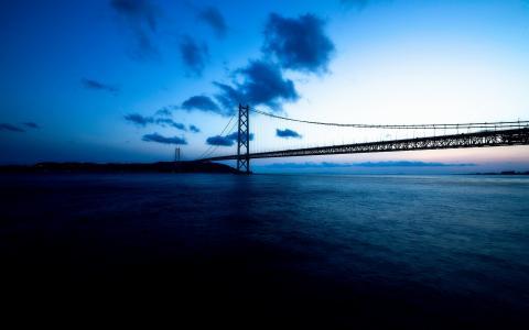 桥,夜景,风景,日本,神户