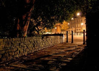 英国,克利夫顿布里斯托尔,晚上,人行道,路灯,街道,城市,照片
