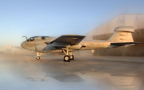 徘徊者,格鲁曼,飞机,机库,日落