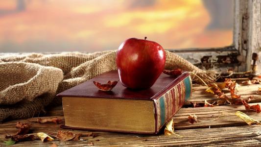 窗口,桌子,苹果,书,落叶,麻布,悲伤...