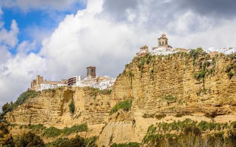 阿科斯德拉弗龙特拉,安达卢西亚,西班牙,山,悬崖,房屋