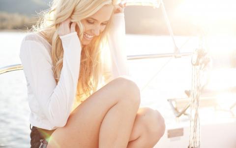太阳,微笑,看,金发女郎,女孩