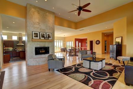 客厅,桌子,壁炉,扶手椅,窗户,厨房,桌子,房子
