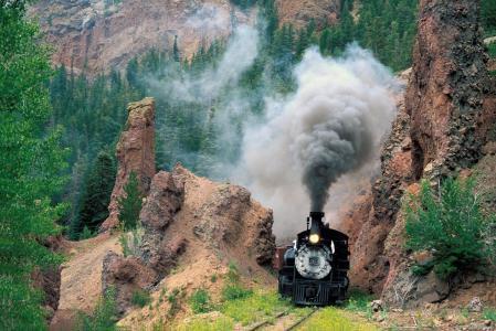 火车,山脉,小号,烟雾