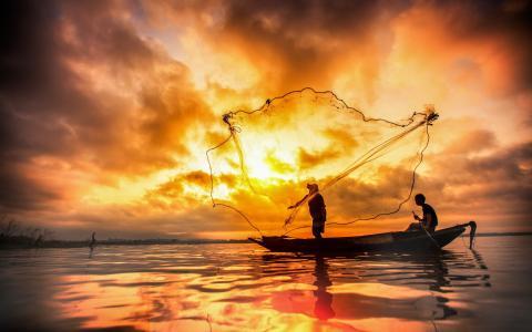 湖,夜,船,网,钓鱼