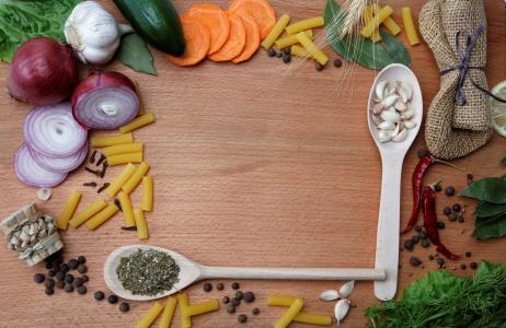 调料,香料,大蒜,意大利面,黑胡椒,洋葱