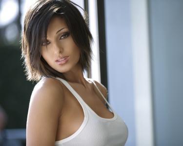 衬衫,女孩,胸部