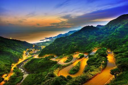 日落,山,云,路,从上面看,台湾