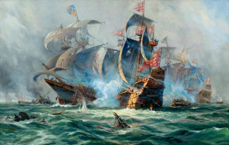 绘画,阿道夫·博克,绘画,帆船,战斗,船舶