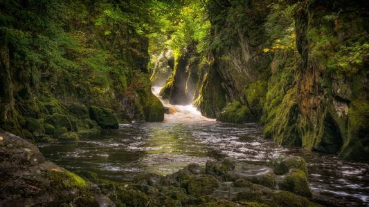 自然,岩石,山,河,植被