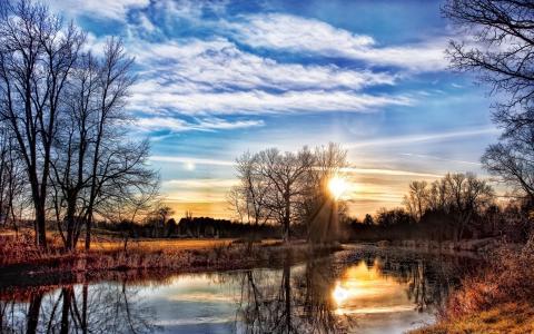 银行,河流,树木,日落,春天