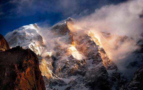 山,峰,雪,风