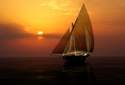 旗鱼,艺术,船舶,太阳