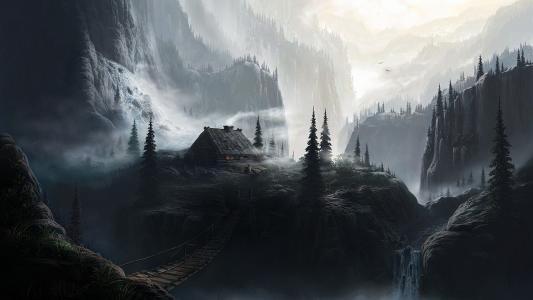 森林,山,房子
