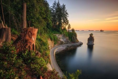 景观,道路,海,森林,悬崖,海岸,加拿大,温哥华,加拿大,湾,Burrard