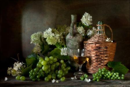 8月,葡萄,绣球花,绿色,夏天,静物,Eleonora Grigorjeva